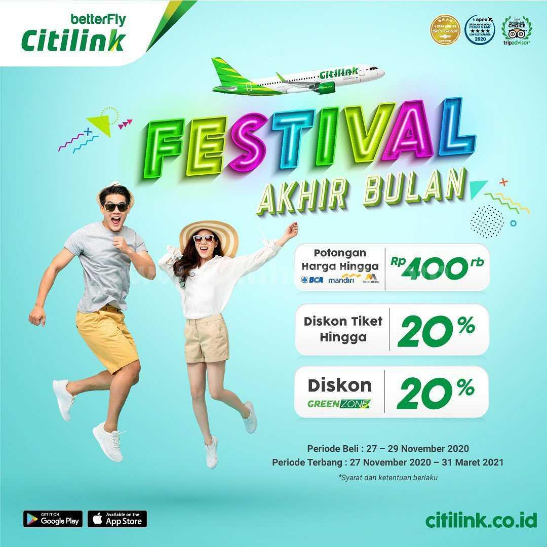 Citilink Festival Akhir Bulan: Diskon Tiket 20% + Potongan Rp 400Rb dari mitra bank