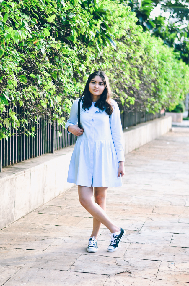 Blue Ruffled Flouncy Button Down Smock Dress