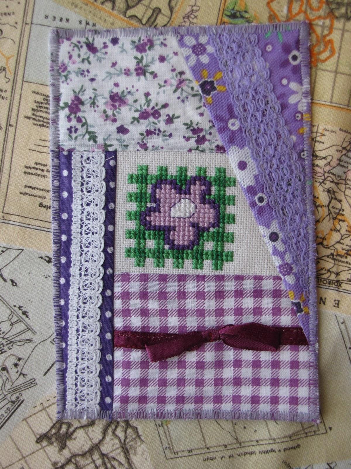 Как сшить текстильную открытку, для