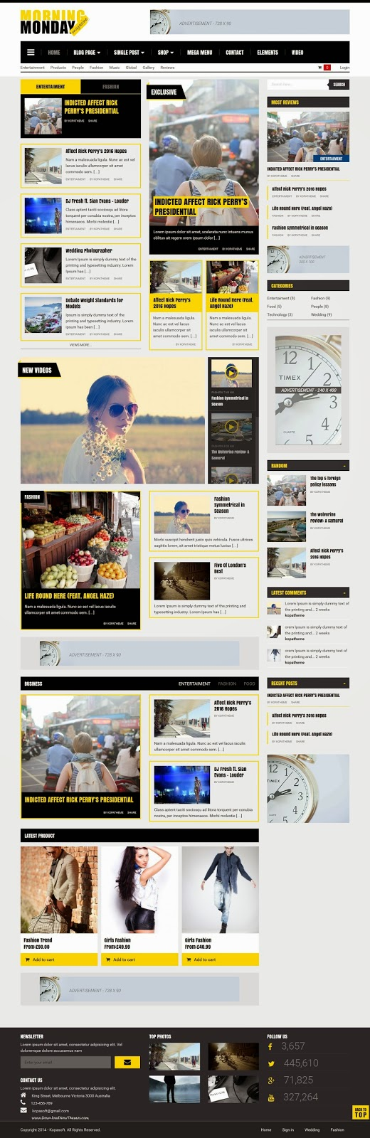 Monday Morning Magazine WordPress Theme