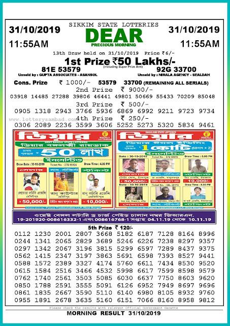 Sambad lottery 31-10-2019 Sikkim State Lottery Result 11.55 AM-lotterysambadresults.com