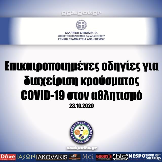 ΓΓΑ | Επικαιροποιημένες οδηγίες για διαχείριση κρούσματος COVID-19 στον αθλητισμό (23.10.2020)