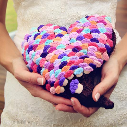 Corazón con alfileres cupcakes