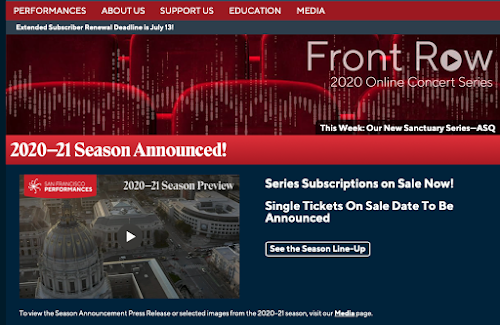 SF Performances home page, with 2020-21 season announcement link and dates to subscribe or buy single tickets for that season.