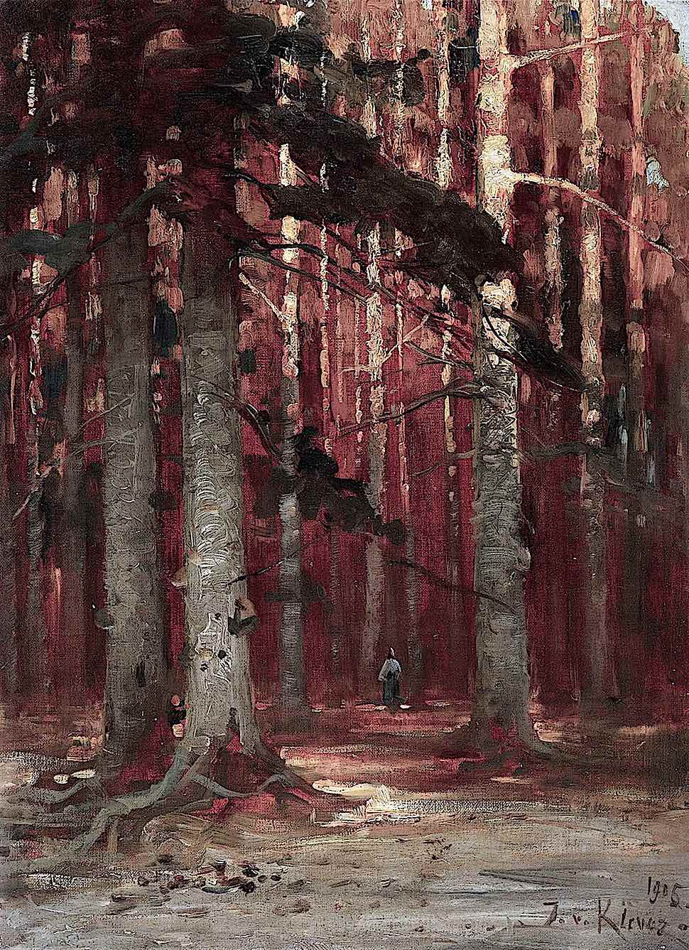a 1905 Julius von Klever painting of a woman standing in an autumn forest