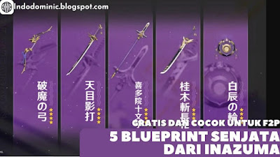 5 Blueprint Senjata Bintang 4 Inazuma di Genshin Impact