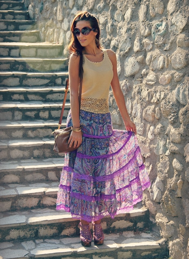 Purple paisley printed skirt