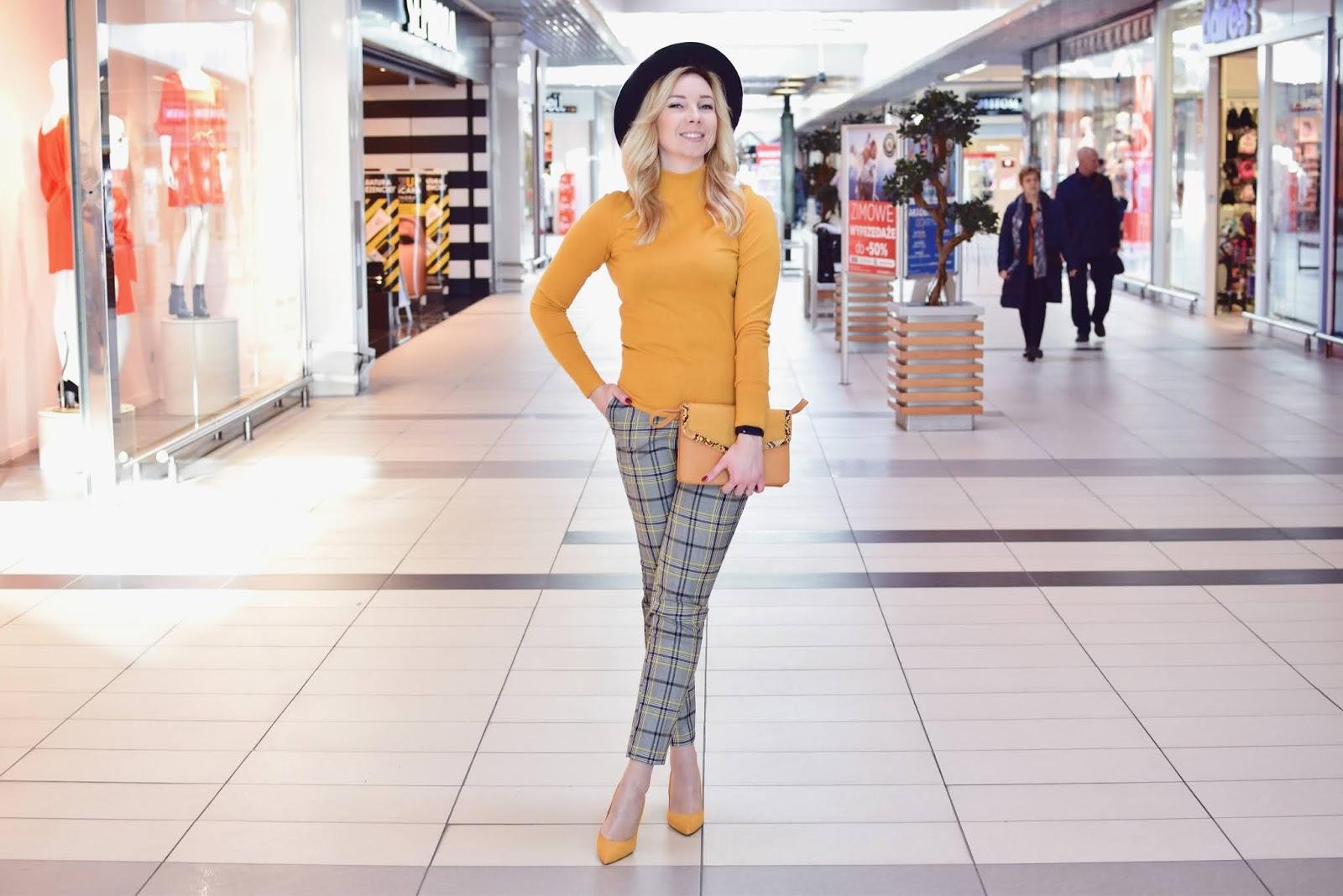 moda, jesień, stylizacja, spodnie, kapelusz, Auchan, płaszczyk, szpilki, Camaieu,