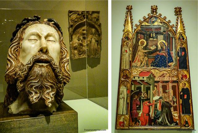 A Cabeça de Cristo, de Jaume Cascals, e uma peça de altar retratando a Anunciação e a Epifania de Reis, do ateliê dos mestres Ferrer e Arnau Bassa, Século 14
