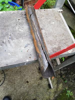 Broken cast iron drain pipe
