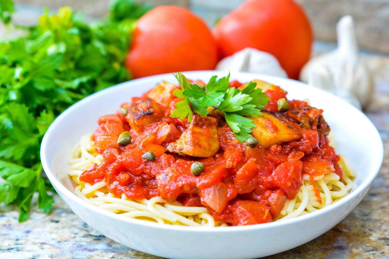 Spaghetti Marinara with Eggplant