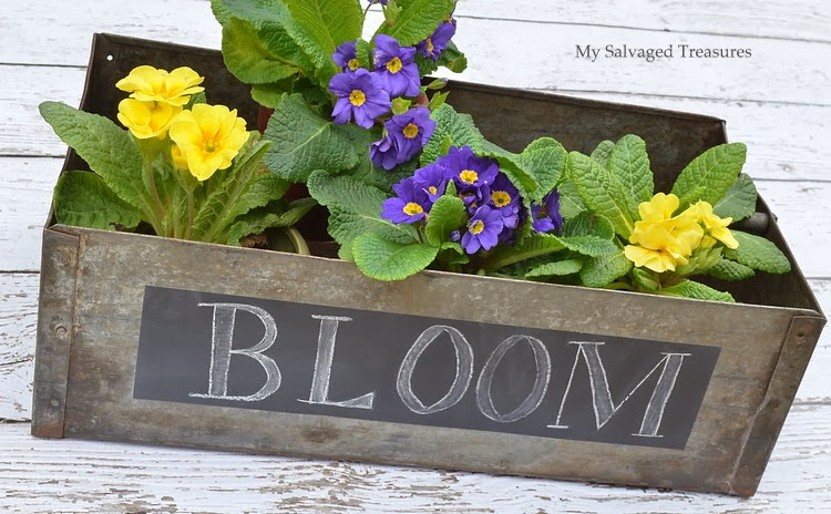 chalkboard galvanized planter box