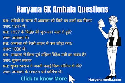 Haryana GK Question in Hindi For Ambala District
