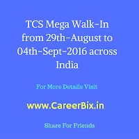 TCS Mega Walk-In drive from 29th August to 4th-September-2016 Across India