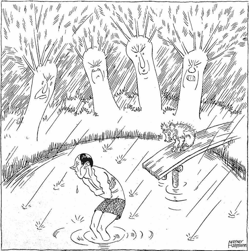 a 1931 German cartoon of a man shivering in a cold swimming pond in the rain