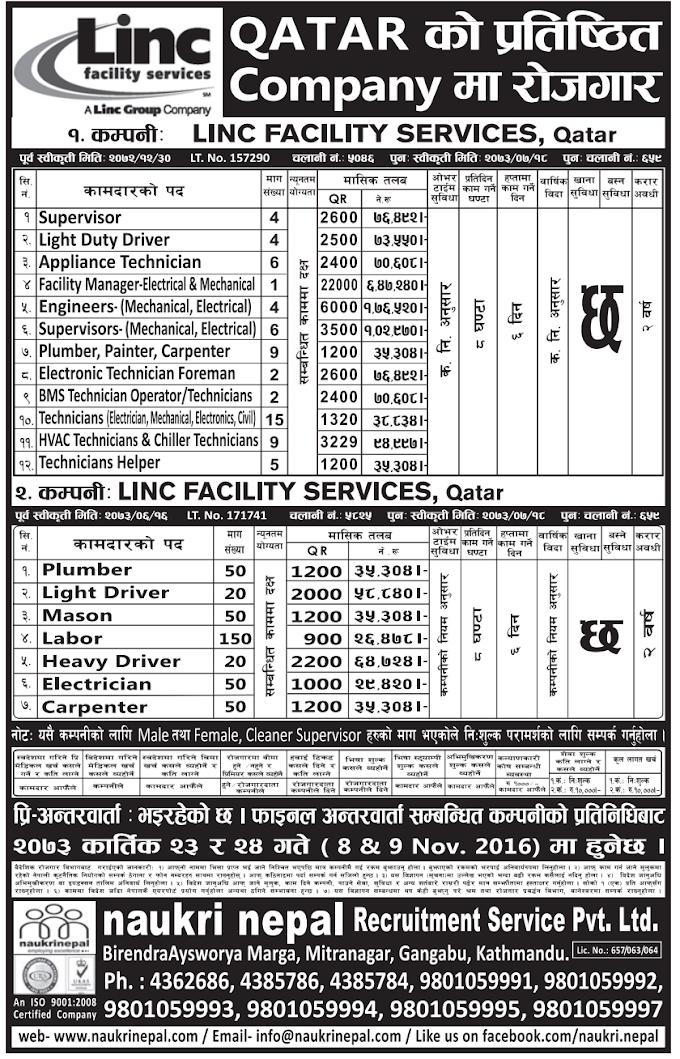 FREE VISA, FREE TICKET Jobs For Nepali In Qatar Salary- 6,47,240/