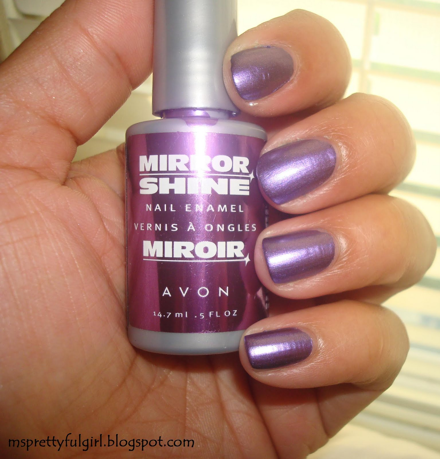 Clumpy Nail Polish: Ms. Prettyful Girl: Finger Painting: Avon Mirror Shine