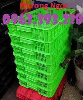 Sọt đựng hàng trong siêu thị, sọt rỗng cao 10, sóng nhựa HS010 61x42x10cm