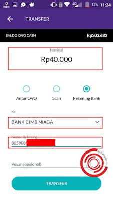 Kemudian pilih nominal yang akan diisikan ke saldo DANA kalian, untuk Bank pilih BANK CIMB NIAGA, dan no rekening silakan isikan sesuai yang kalian salin sewaktu di aplikasi DANA tadi, pesan tidak usah diisi lalu klik TRANSFER