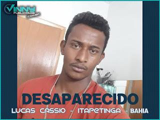 Família pede ajuda para encontrar Lucas Cássio desaparecido em Itapetinga