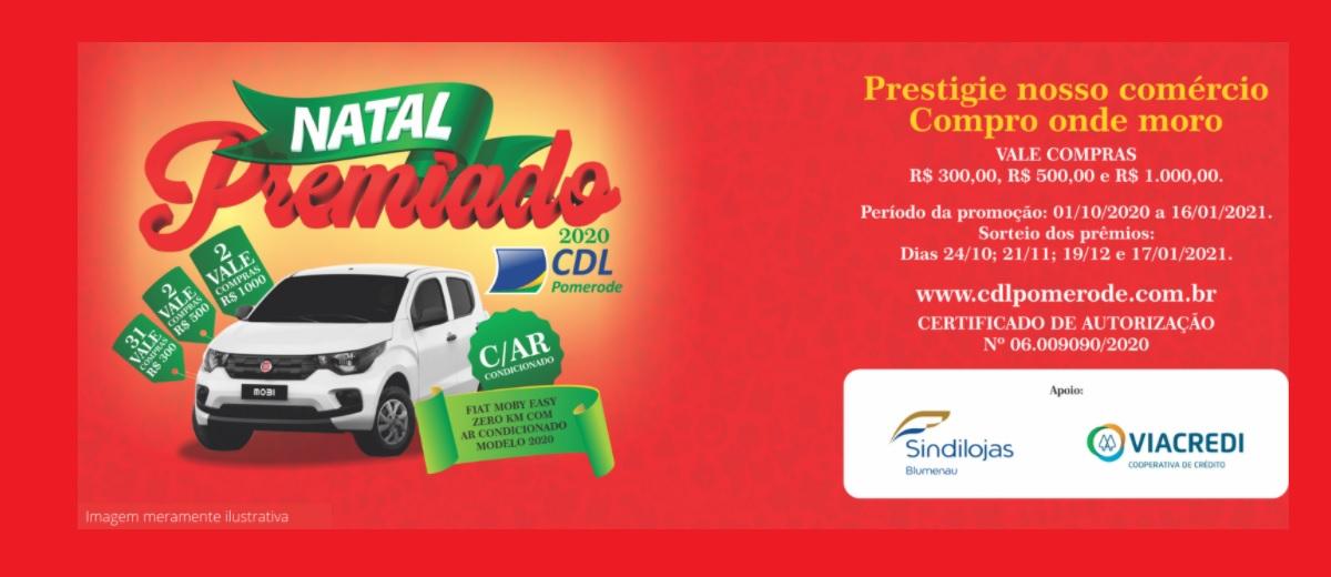 Promoção CDL Pomerode Natal Premiado 2020 Carro e Vales Compras