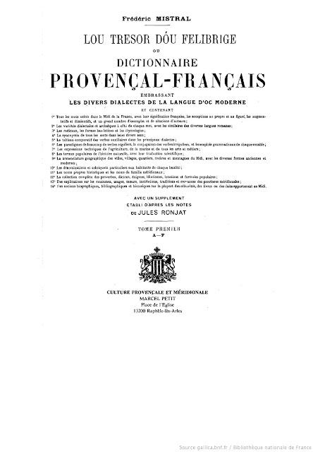 Lou tresor dou Felibrige, provençau français
