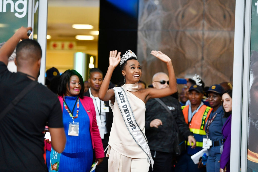 Miss Universe winner, Tunzi Zozibini at the Miss Universe Official Homecoming Welcome at the OR Tambo International Airport on February 08, 2020 in Johannesburg, South Africa. As the 68th Miss Universe winner, Tunzi Zozibini will embark on a week-long festivity that includes visits to Johannesburg, Cape Town, Mthatha and the two villages she grew up in namely Tsolo and Dutywa in the Eastern Cape. (Photo by Frennie Shivambu/Gallo Images via Getty Images)