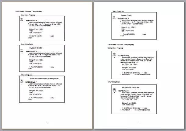 Contoh Katalog Buku Perpustakaan Sekolah