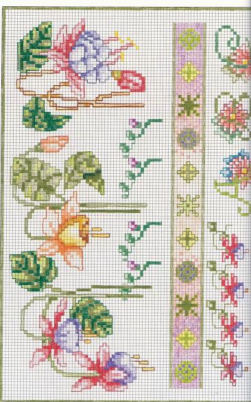 Cornici con fiori a punto croce semplici e veloci