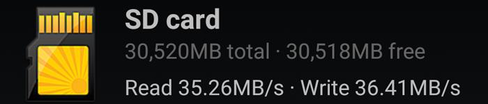 スマートフォンに挿した状態でのベンチマークテスト結果
