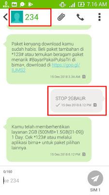 """Ketik """"STOP 2GBAUR"""" untuk berhenti berlangganan/unreg paket 2GB (500MB+1.5GB(0:1:00-09:00)) dan kirim ke 123"""