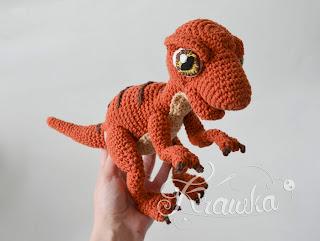 Krawka: baby raptor realistic dinosaur crochet pattern by Krawka