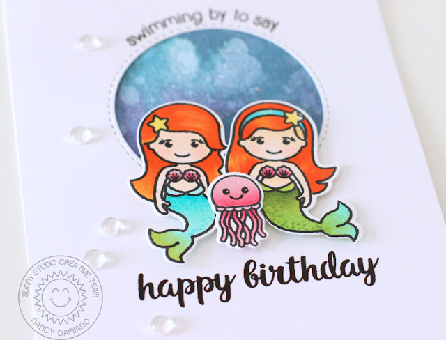 Sunny Studio Stamps: Magical Mermaids Under The Sea Themed Birthday Card by Nancy Damiano
