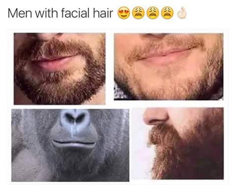 Men with facial hair (Harambe).