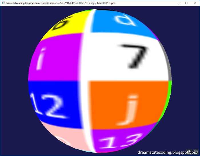 Icosphere that shows the texturing glitch fixed from pole to pole