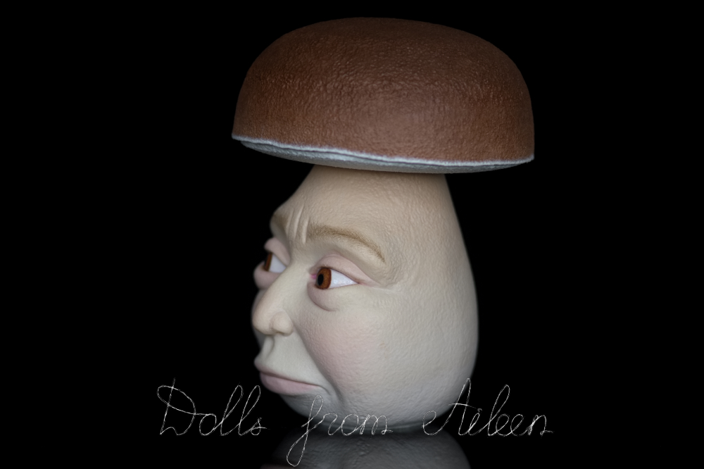 OOAK clay enchanted mushroom sculpture, view of left side