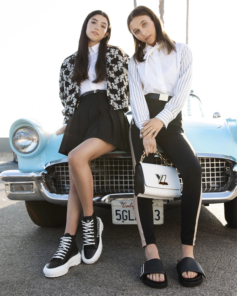 Wearing black and white outfits, Emma Chamberlain and Charli D'Amelio front Louis Vuitton LV Squad & LV Sunset campaign.