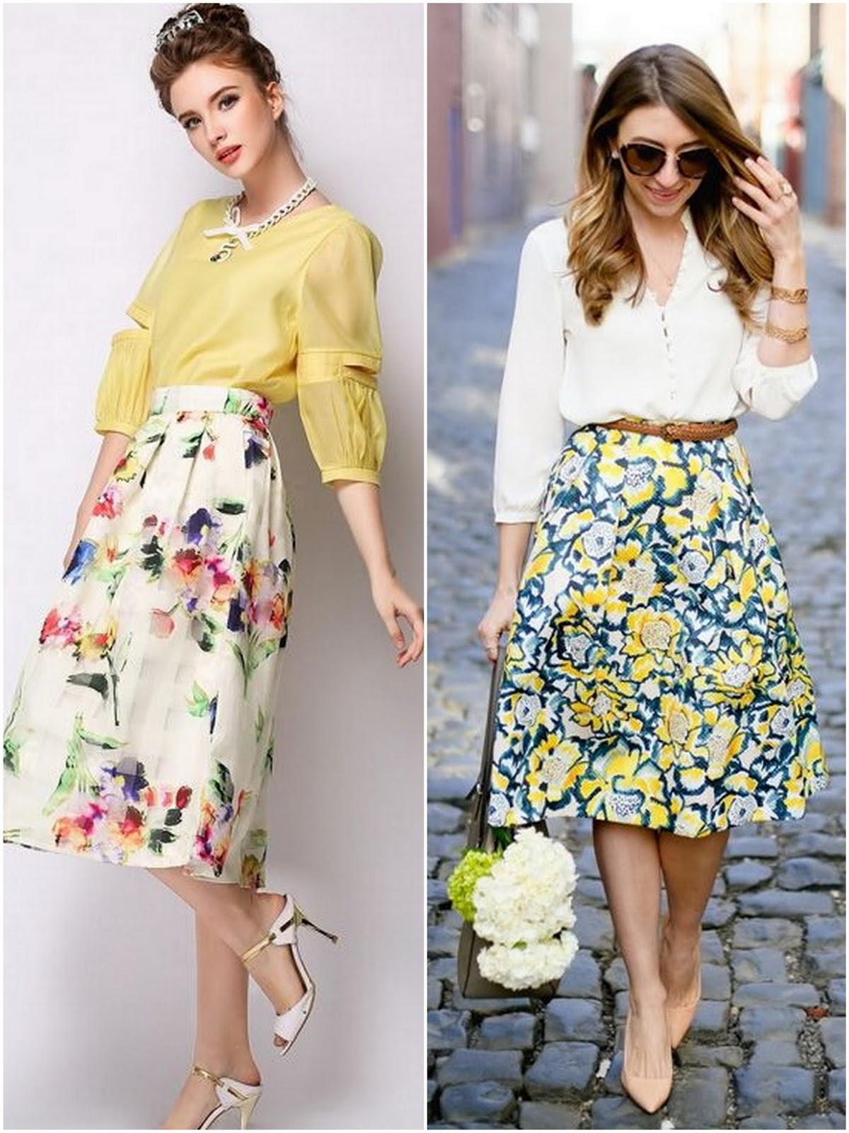 Чем можно одевать цветочные юбки