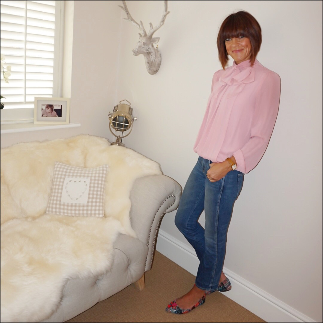 my midlife fashion, somerset by alice temperley pussy bow blouse, j crew cropped kick flare jeans, j crew tweed tassel pointed flat shoes