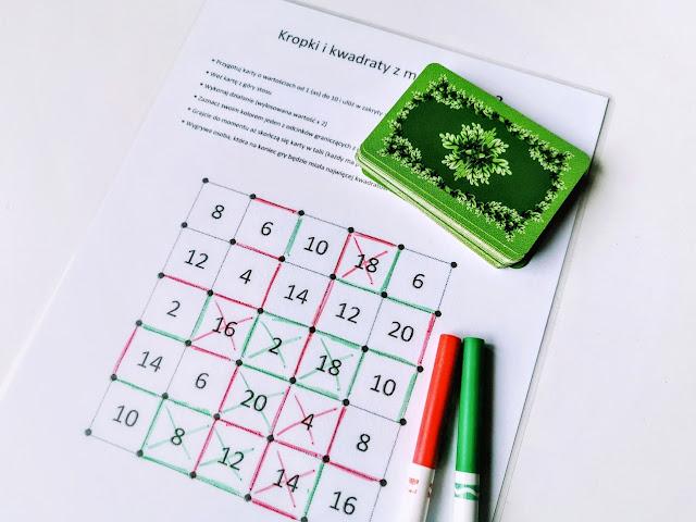 na zdjęciu plansza do gry, obok leża dwa pisaki czerwony i zielony oraz talia kart, na planszy zaznaczone jest wiele linii