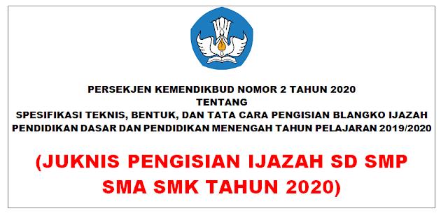 Juknis Pengisian Penulisan Blangko Ijazah SD SMP SMA SMK Tahun 2020