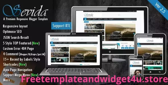 Sevida blogger Template Free Download Paid Version.