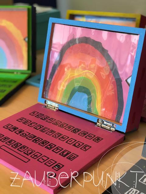 Kinder-Laptop-DIY, Tutorial, Computer aus Zigarrenschachtel, upcycling, Kindergartencomputer, Medien/Informatik im Kindergarten, LP21, Werken mit Kindergartenkinder