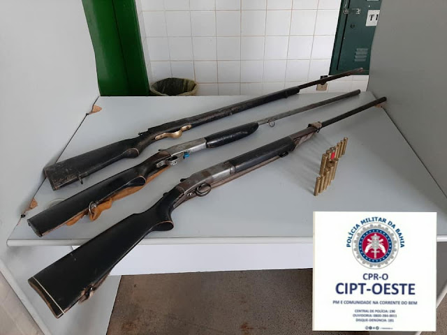 RONDESP OESTE APREENDE ARMAS DE FOGO NA ZONA RURAL DE BAIANÓPOLIS