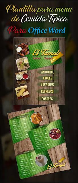 Plantilla en español para crear menú de comida típica en Word
