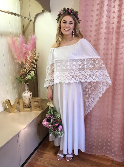 Lace cape sleeve wedding dress