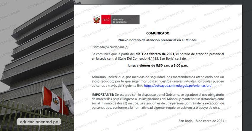 COMUNICADO MINEDU: Nuevo horario de atención presencial en el Ministerio de Educación