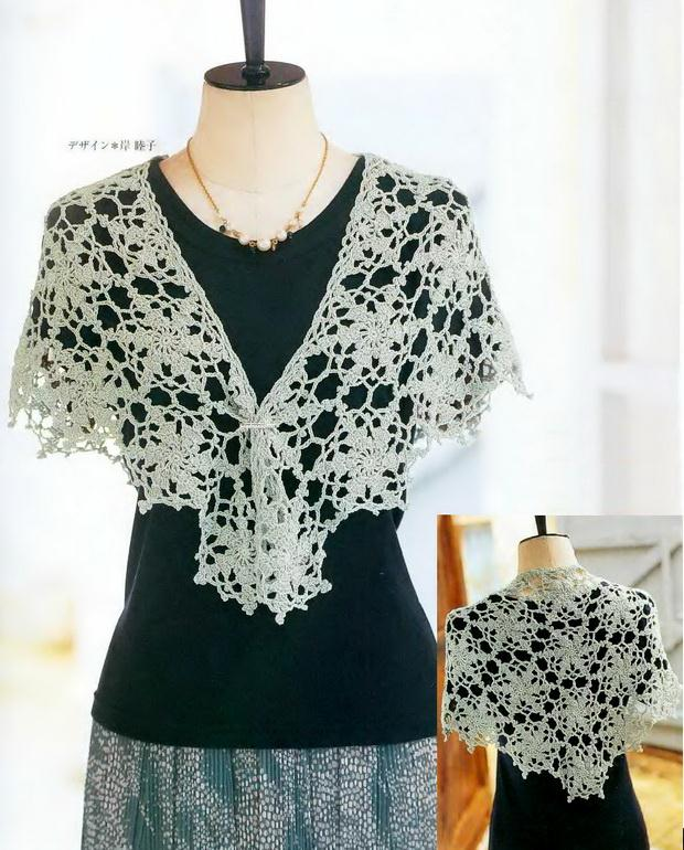 crochet shawl with pattern, triangle shawl