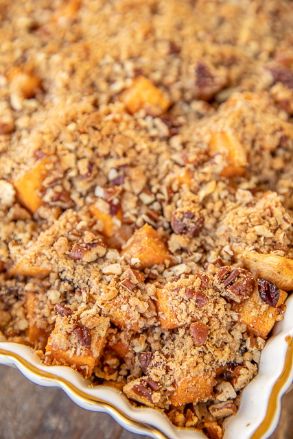 sweet potato casserole in baking dish