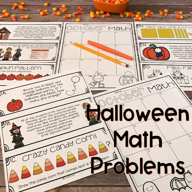 Halloween math activities for First Grade and Second Grade